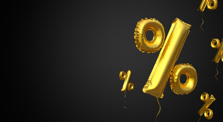 Black Friday. Gold balloon symbol of percent on a black background. Copy space for text