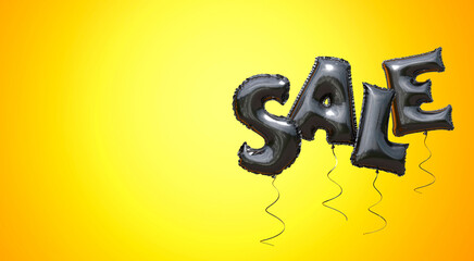 Black Friday. The word SALE made of black balloons on yellow background. Copy space for text