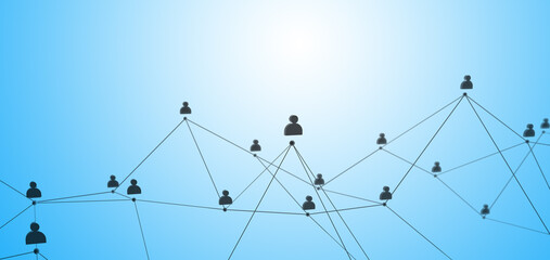 Social connection or business communication. Network of contacts on a blue background. 3d render