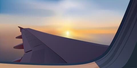Concept du voyage et du transport aérien avec une aile d'avion vue au traver d'un hublot, sur un fond de coucher de soleil.