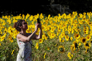 A woman takes a picture in a field of sunflowers, amid the coronavirus disease (COVID-19) outbreak, in Chorleywood