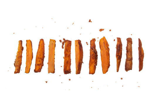 Sweet potato fried on a white background.