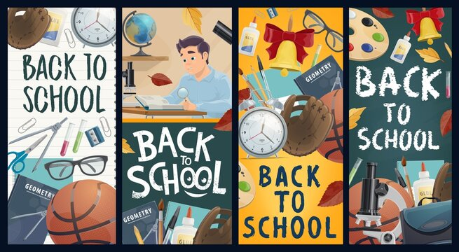 Back to school vector banners, education industry. Pupil with magnifier reading a book at desk. School blackboard and stationery, textbooks and schoolbag, sports equipment and leaves