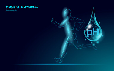 Water aqua pH jogger rehydration concept. Health care against dehydration isotonic electrolytes drink. Runner sportsman low poly 3D vector illustration