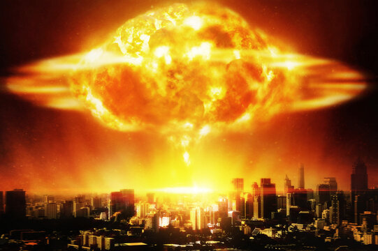 Huge nuclear explosion over a modern city