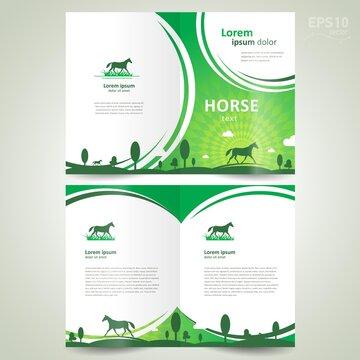 Brochure Horse grassland theme green color booklet design template