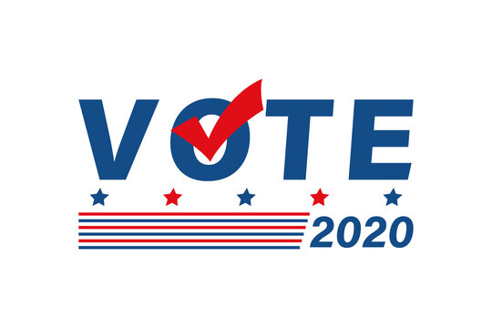 Vote 2020 in USA political poster. Flat patriotic colors banner with slats and checkmark. Voting campaign vector