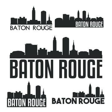 Baton Rouge Louisiana USA Flat Icon Skyline Vector Silhouette Design Set.