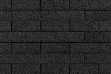 Panorama of Block pattern of black stone cladding wall tile texture and seamless background
