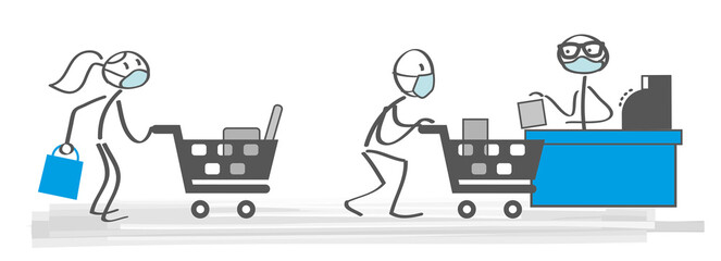 shopping with masks - vector illustration