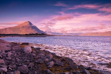 Fototapete - Rocky seashore in the evening. Beautiful nature of Norway. Picturesque Scandinavian landscape. Lofoten islands, Norway, Europe