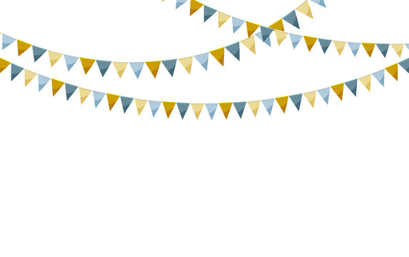 Paper bunting party flags isolated on white