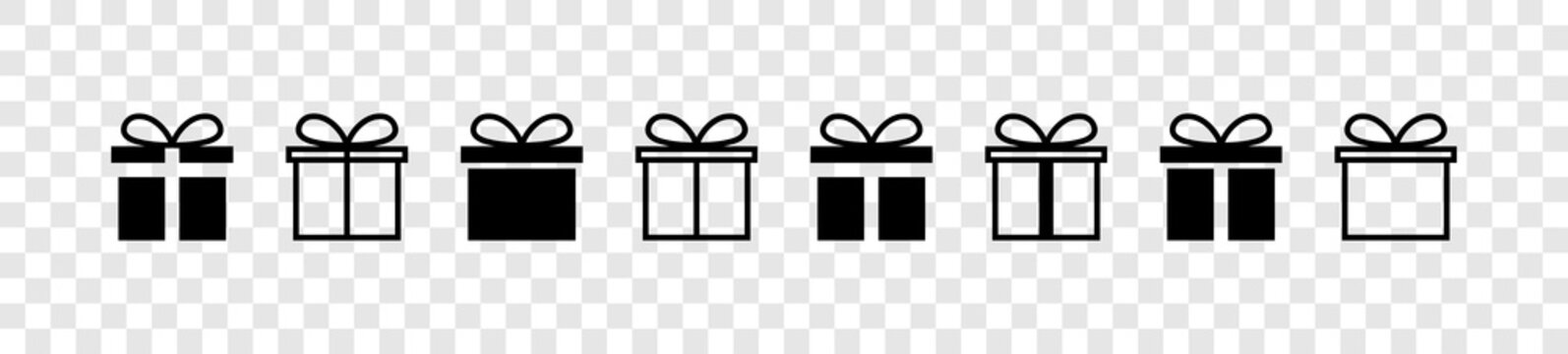 Gift. Gift box collection with ribbons. Christmas gift icons, isolated. Surprise box vector icons in a row. Vector illustration