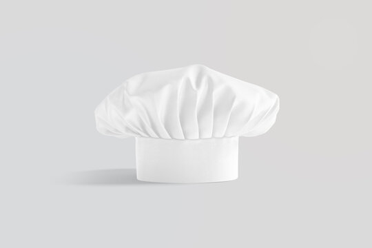Blank white toque chef hat mockup stand, gray background
