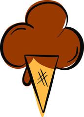 Cartoon Ice Cream In a Cone Vector Illustration