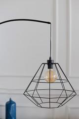 Closeup retro style bulb lamp, Loft style interior decoration.