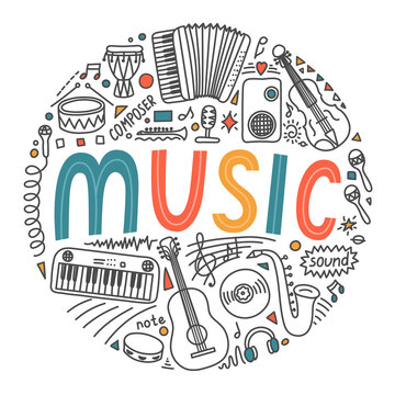 Music. School subjects. Hand drawn doodles and lettering on white background. Education vector illustration.