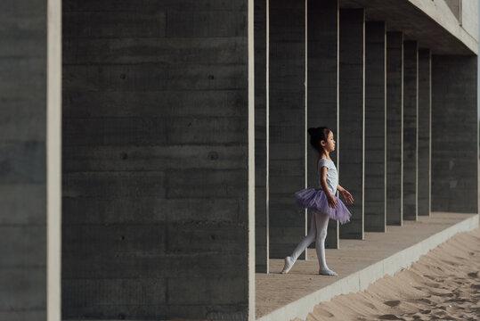 Cute girl dancing ballet