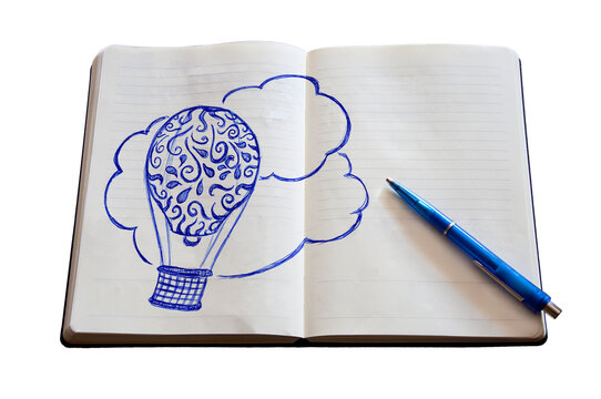 Doodle_hot-air balloon_paper notebook_pen_isolated