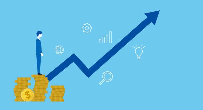硬貨の上に立つ男性と矢印、投資や売上アップのイメージ