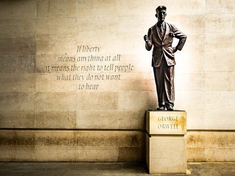 London- George Orwell statue outside the BBC building in central London. British author of 1984 and animal farm
