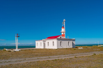 Lighthouse at Strait of Magellan, Punta Delgada, near a ferry into Tierra del Fuego island, Patagonia, Chile, details