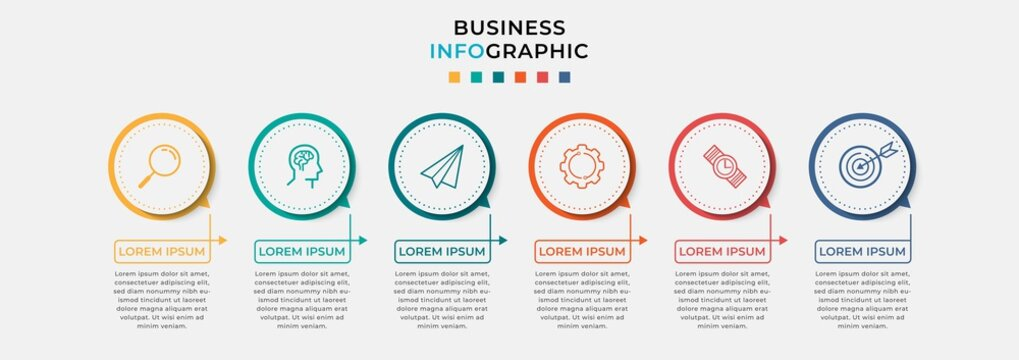 Business Infographic design template Vector with icons and 6 six options or steps. Can be used for process diagram, presentations, workflow layout, banner, flow chart, info graph