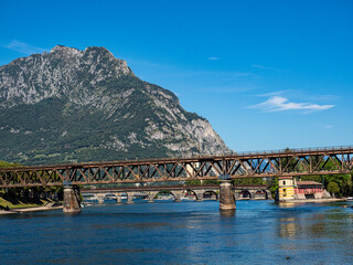 View of the old bridges of Lecco Town on Adda river