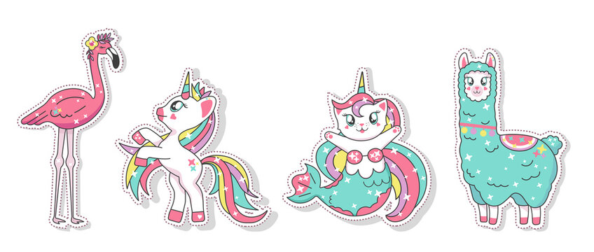 Beautiful unicorn, llama, flamingo and mermaid cat