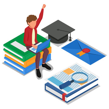 Student do online learning at computer laptop. Male with education technology, books, graduation cap. Isometric e-learning illustration concept. Vector