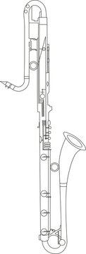 Simple black line drawing of outline Bb Contrabass Clarinet musical instrument contour
