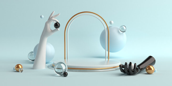 3d-illustration abstract geometric shapes scene minimal, design for cosmetic or product display podium mannequin hands