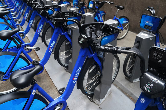 Racks of Citibike rental bicycles are pictured in the Manhattan borough of New York City