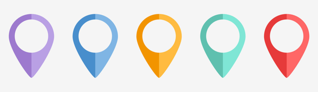 Location Icons. Map Marker. Pointer. GPS Location Symbol. Stock Vector