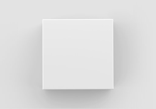 White Square Box Mockup, Blank Shoe Box packaging container, 3d Rendering isolated on light background
