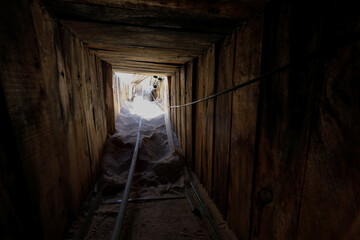 unfinished cross-border tunnel found by Immigration and Customs Enforcement (ICE) officers in the sandy Sonoran desert terrain in San Luis, Arizona