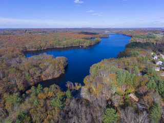 Ashland Reservoir aerial view with fall foliage in Ashland State Park in town of Ashland, Massachusetts MA, USA.