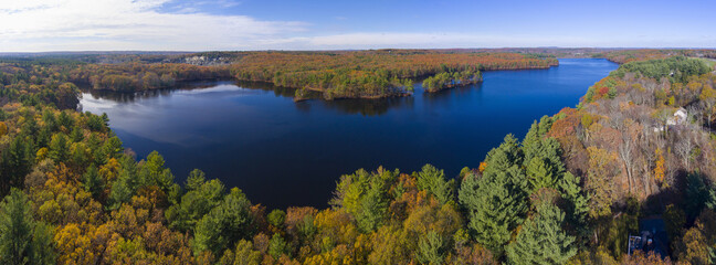 Ashland Reservoir aerial view panorama with fall foliage in Ashland State Park in town of Ashland, Massachusetts MA, USA.
