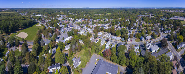 Ashland town center aerial view panorama including Federated Church and Town Hall in Ashland, Massachusetts MA, USA.