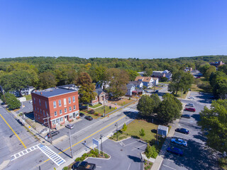 Ashland town center aerial view including Public Library on Front Street in Ashland, Massachusetts MA, USA.