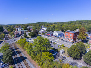 Ashland town center aerial view including Federated Church and Town Hall in Ashland, Massachusetts MA, USA.