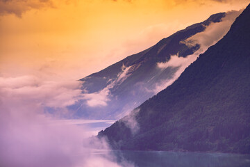 Photo sur Plexiglas Aubergine Fjord landscape in Norway
