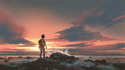 Foto auf Acrylglas Grandfailure a boy standing with guitar against the sunset background, digital art style, illustration painting