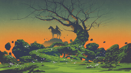 Foto auf Acrylglas Grandfailure horseman and scary tree in the mysterious landscape, digital art style, illustration painting