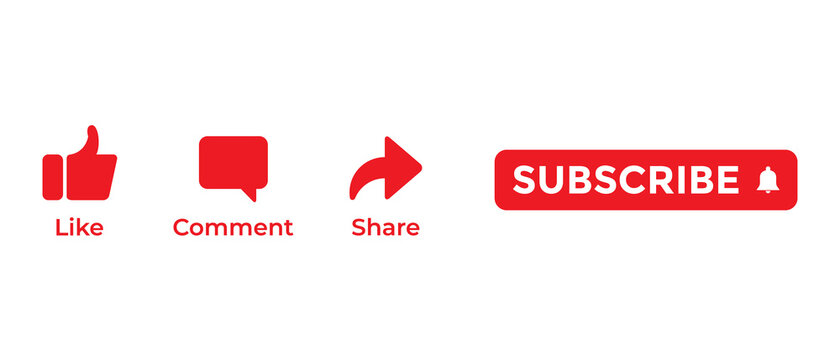 Like, Comment, Share, and Subscribe. Icon Set for Channel. Vector Illustration