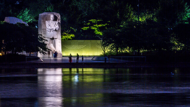 Martin Luther King Memorial in Washington DC at night