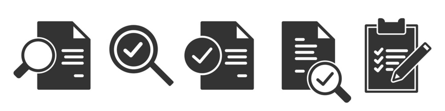 Set of audit simple icons in black
