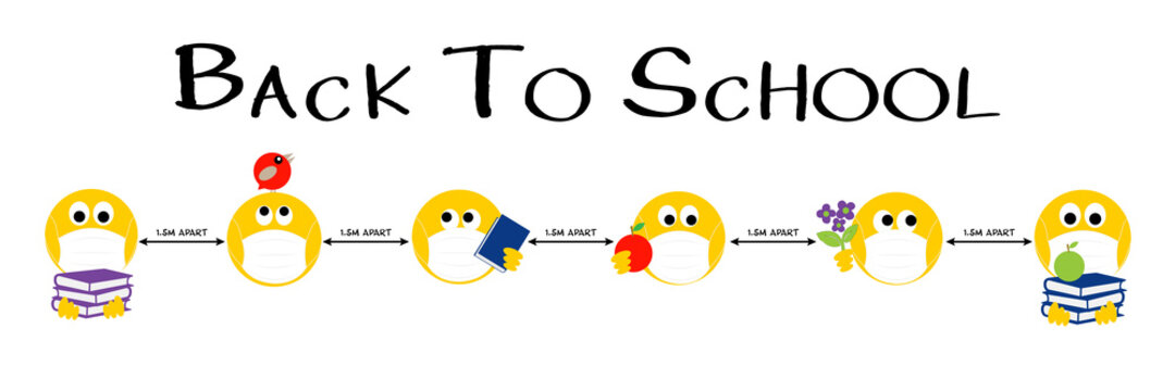 Back to school emojis, Coronavirus, covid 19, social distancing banner heading, emoji keeping 1.5m apart.
