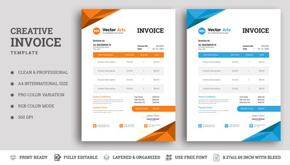 Invoice minimal design template. invoice layout with orange & blue accents