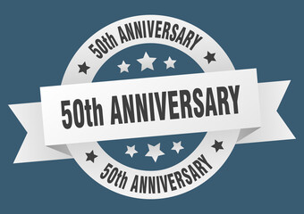 50th anniversary round ribbon isolated label. 50th anniversary sign